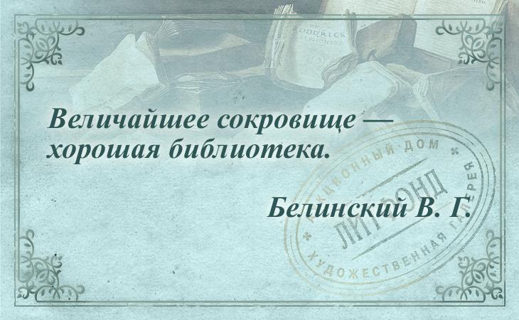 Величайшее сокровище — хорошая библиотека. Белинский В. Г.