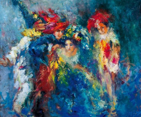 Волконская Юлия. «Арлекины». 2015. Холст, масло. 100×120см.