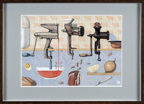 Захаров Петр. «Мама делает котлеты». 2011. Бумага, тушь, акварель. 35×50см.