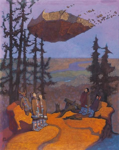 Захаров Петр. «Тунгусы наблюдают». 2002. Бумага, гуашь. 38×49см.