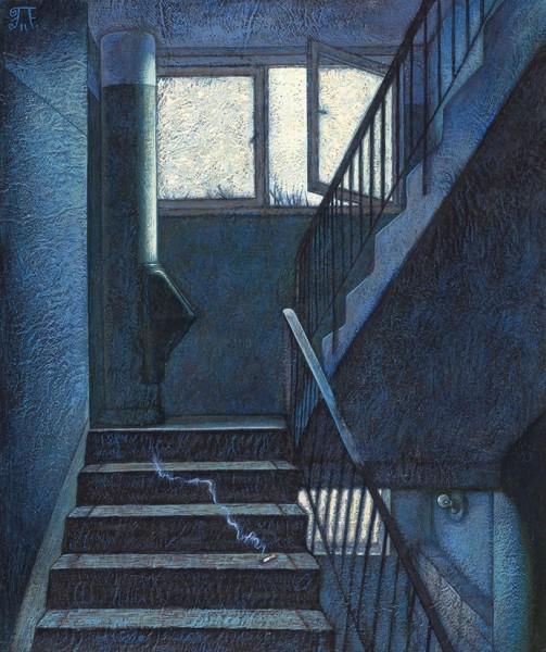 Захаров Петр. «Улетел». 2011. Оргалит, акрил. 45×37см.